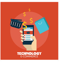 technology e-commerce hand holding smartphone back vector image