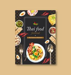 Thai food poster design with crispy pork chili vector