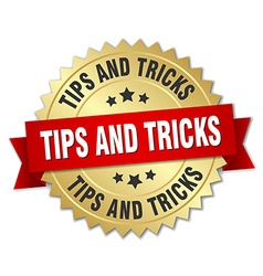 Tips and tricks 3d gold badge with red ribbon vector
