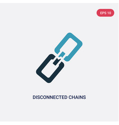 Two color disconnected chains icon from user vector