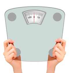 Two hands holding up a scale Concept of diet vector