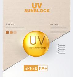 Uv protection ultraviolet sunblock vector