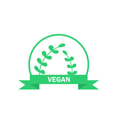 Vegetarian logo green food symbol label vector