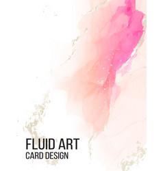 watercolor alcohol ink card liquid pink flow vector image