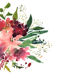 Watercolor flowers in frame hand drawn for print vector