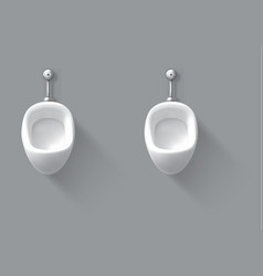 White ceramic urinal on wall in male toilet vector