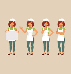 Woman cook set vector
