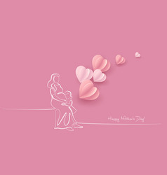woman hold her bawith air balloons vector image