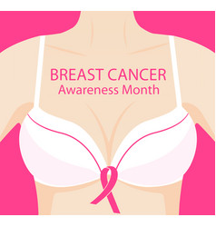 Woman in brassiere with pink ribbon national vector