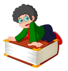 Young boy with the big book vector