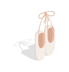Ballet pointe shoes icon isometric 3d style vector