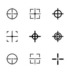 black crosshair icon set vector image vector image