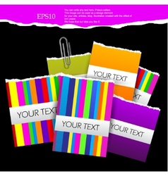 colorful little notes on black background with spa vector image