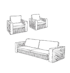 Doodle Armchair set for interior design vector image