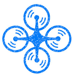 flying quadcopter grunge icon vector image vector image