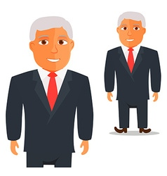 Man in Black Suit with Red Tie Cartoon Character vector image vector image