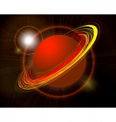 Saturn planet illustration on black vector image vector image