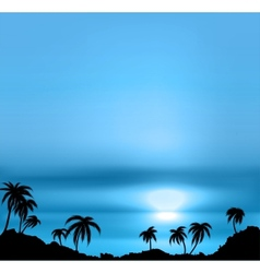 Sunset background with sea and palm trees vector image