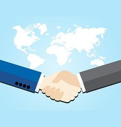 Two business men shaking hands vector image