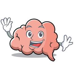 waving brain character cartoon mascot vector image vector image