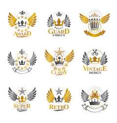 ancient crowns emblems set heraldic design vector image vector image