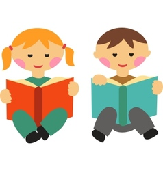boy and girl reading books vector image