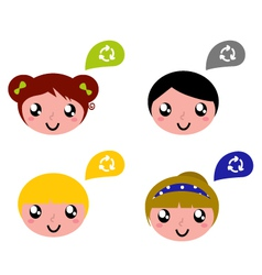 cute recycle kids vector image