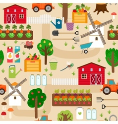 Farm seamless pattern with tractor and beds apple vector image
