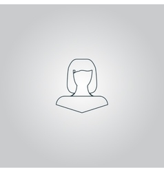 girl icon head silhouette vector image
