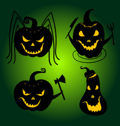 halloween pumpkins with scary faces jackolanterns vector image vector image
