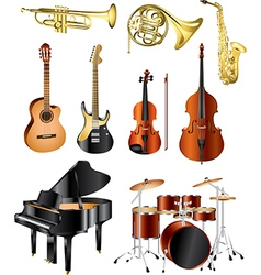 icons music instruments vector image vector image