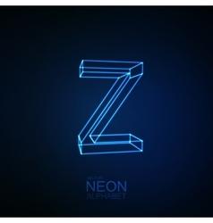 Neon 3D letter Z vector image