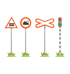 Railway intersection signs different traffic vector