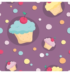 Seamless pattern with cupcakes and circles on vector image vector image