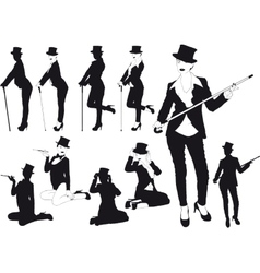 Silhouette girl in hat vector image