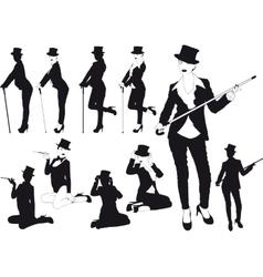 Silhouette girl in hat vector