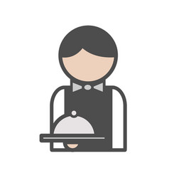 waiter icon with uniform at the restaurant vector image