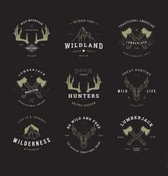 wildlife hunters logo set invert vector image vector image