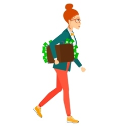 Woman with suitcase full of money vector image
