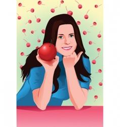 cherry girl vector image vector image