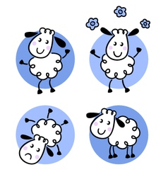 cute doodle sheep collection vector image vector image