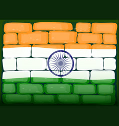 india flag on brickwall vector image vector image