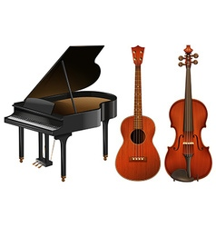 Musical instruments with piano and guitar vector image