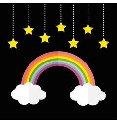 Rainbow and two white clouds Yellow stars hanging vector image vector image