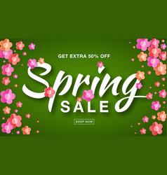 spring sale banner background with paper flowers vector image vector image