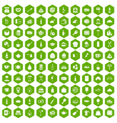 100 restaurant icons hexagon green vector image