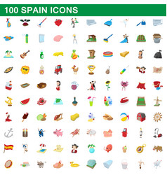 100 spain icons set cartoon style vector image