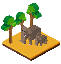 3d design for two elephants in forest vector image