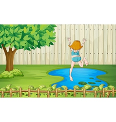 A girl diving into the water vector