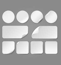 adhesive white paper stickers realistic vector image